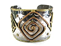 Anju - Mixed Metal Spiral Squares Cuff - Bracelet from Anju