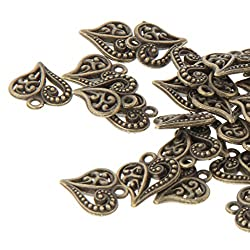 50x Antique Crafts Heart DIY Charms Jewelry Findings Pendant Beads - bronze