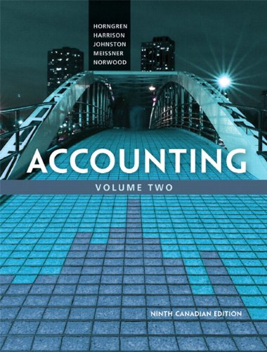 Accounting, Volume 2, Ninth Canadian Edition (9th Edition)