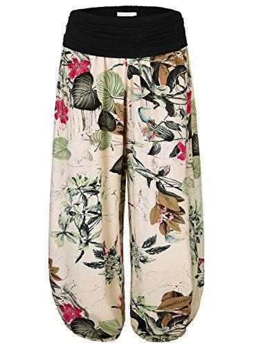 BAISHENGGT Pantaloni Vita alta Harem casuale elastico - Donna Beige Taglia unica