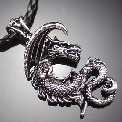 Gothic Ancient Dragon Pewter Pendant with 20″ Choker Necklace