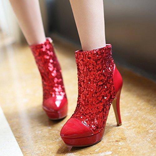 Stiefel & Stiefeletten Koreanische Version des eleganten spitzen Frauenschuhe/Pailletten Hochzeit Schuhe/Super High Heel Kleid Schuhe/Nachtclub sexy Stiefel-D Fußlänge=24.3CM(9.6Inch)