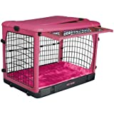 Pet Gear The Other Door Steel Crate with Plush Bolster Bed for Cats and Dogs up to 30-Pounds, Pink