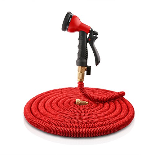 Expandable Hose, LEDMO 50 FT Garden Hose, 8 Way Hose Nozzle, Solid Brass Hose fittings, Solid Brass Connector and Extra Strength Fabric for Car Garden Hose Nozzle(Red) (Garden Hose Trolley compare prices)