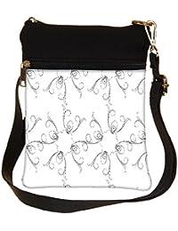 Snoogg Grey Sketch Floral Cross Body Tote Bag / Shoulder Sling Carry Bag
