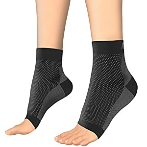 Plantar Fasciitis Support - Atlas Compression Foot Sleeve - Best Relief from Heel Spur/Ankle Pain & Swelling - Premium Quality Sleeves for Men & Women, Improved Circulation + EXERCISE EBOOK & GUARANTEE (1 Pair - Medium)