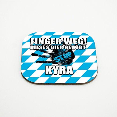 Untersetzer für Gläser mit Namen Kyra und schönem Motiv - Finger weg! Dieses Bier gehört Kyra