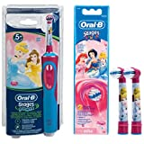 Braun Oral-B Stages Power D12.513.K Advance Power Kids 900TX Rechargeable Disney Princess Cinderella Toothbrush for Children 5+ Includes 2 Princess Stages Replacement Brush Heads / Economy Pack