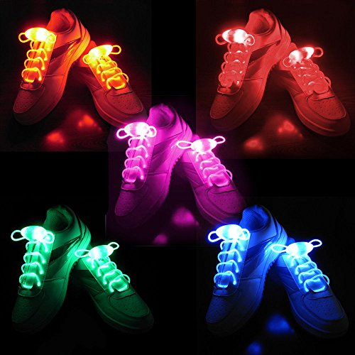 2win2buy 5 Pairs Waterproof Luminous LED Shoelaces Fashion Light Up Casual Sneaker Shoe Laces Disco Party Night Glowing Shoe Strings (Led Light Up Shoe Laces compare prices)