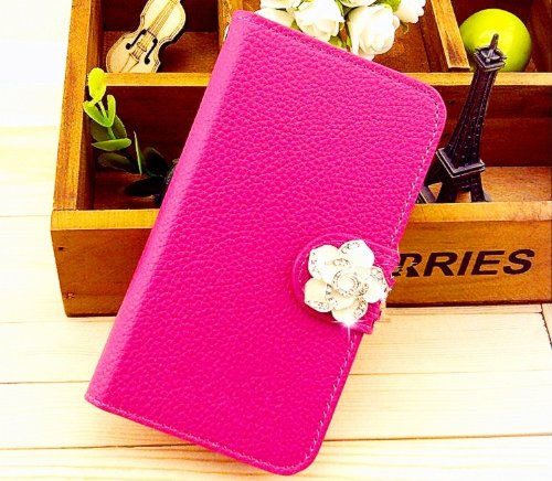 Luxury Crystal Rhinestone Camellia Leather Card Flip Card Holder Wallet Case Cover for Samsung Galaxy S Blaze 4G Sgh-t769 T-Mobile ROSE