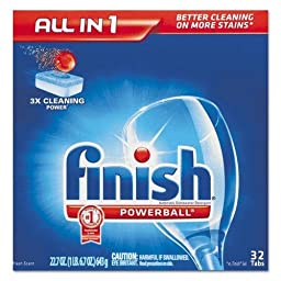RECKITT BENCKISER PROFESSIONAL Powerball Dishwasher Tabs, Fresh Scent, 32/Box (81049)