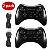 Kulannder Wii U Pro Controller- Perfect Gift for Kids -Wireless Rechargeable Bluetooth Dual Analog Controller Gamepad for Nintendo Wii U with USB Charging Cable (2-Pack Black) (Color: Black)