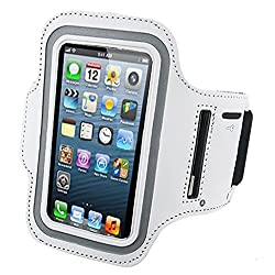 TrackSwipe Mordern Sports Gym Jogging Running Armband Arm Holder Case Cover for For For Samsung Note 2 & 3, Iphone 6, Iphone 6S, HTC, Micromax, Samsung, Sony, Intex, LG, Microsoft And All Compatible with Cellphones 5.7 Inch (WHITE)
