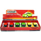 "6 Pcs In Box: 6"" Volkswagen New Beetle 1:24 Scale (Green/Red/Yellow)"