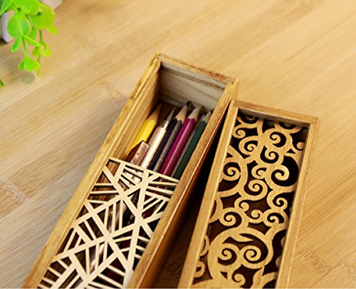 Aisa Wooden Hollow-carved Pencil Box Multifunctional Pencil Case for Student Special Gifts for Children/kids (Transverse leaf patterns)