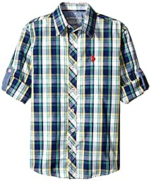 U.S. Polo Assn. Big Boys\' Plaid Sport Shirt, Classic Navy, 14/16