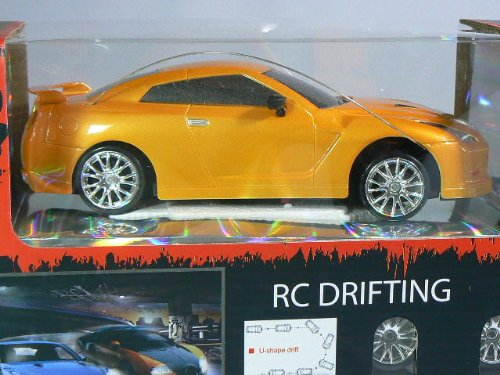 Extreme Drift Nissan Gt-R 1:24 Electric Rtr Rc Car 49 Mhz - Yellow