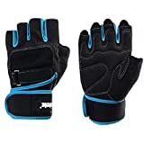 TC-XLY 620 Men's Training Fitness Gym Gloves, Training Fitness Workout Wrist Wrap Workout Exercise (Blue, M)