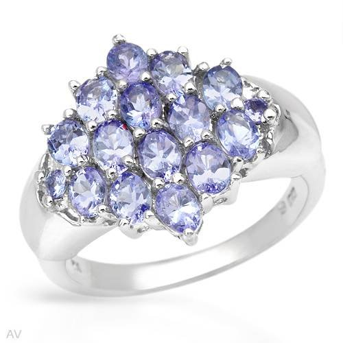 Sterling Silver 2.44 CTW Tanzanite Ladies Ring. Ring Size 7. Total Item weight 6.2 g.