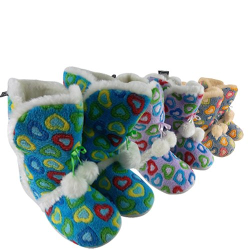 Girls Kids Hearts Ankle Boot Furry Bootee Slippers Junior Children Size UK 8 - 3