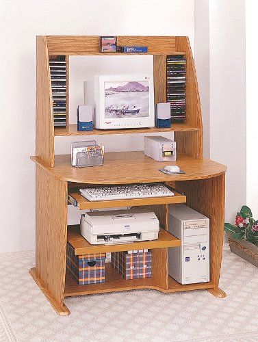 Buy Low Price Comfortable Home Office Oak Finish Wood Computer Desk w/Bookcase & Printer Storage (B0001JT4E8)