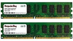 KOMPUTERBAY 8GB ( 2 X 4GB ) DDR2 DIMM (240 PIN) 800Mhz PC2 6400 PC2 6300 8 GB - CL 5