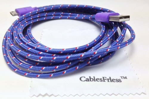 Cablesfrless (Tm) 10Ft Braided High Quality Durable Micro B Usb Charging / Data Sync Cable Fits Android Phones And Tablets Samsung Galaxy S4 Reverb Note Google Nexus Htc One Kindle Fire Hd Touch Acer Lg Optimus Pantech Blackberry Motorola Razr Maxx Hd Son