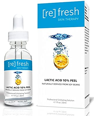 Lactic Acid 10% Gel Peel Exfoliant Anti-Aging Serum - Naturally Derived From Soy (Professional Chemical Peel Kit) Facelift in a Bottle Plumps Fine Lines and Wrinkles