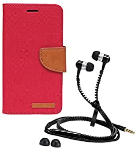 Aart Fancy Wallet Dairy Jeans Flip Case Cover for MicromaxQ380 (Red) + Zipper Earphones/Hands free With Mic *Stylish Design* for all Mobiles- computers & laptops By Aart Store.