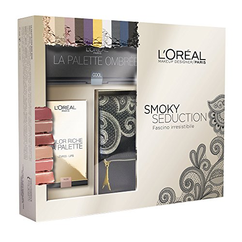L'Oréal Make Up Designer Paris Cofanetto Natale Smoky Seduction: pochette + palette Ombrèe + palette labbra Color Riche