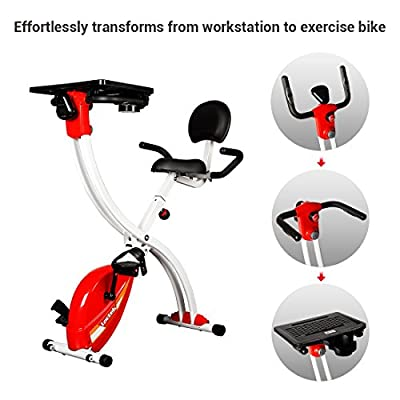 Loctek Foldable Office Cycling Workstation Desk Exercise Bike with Laptop Table, Red