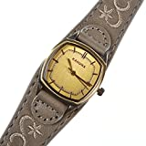 KAHUNA LADIES GREY CUFF EMBROIDERED LEATHER & STAINLESS STEEL ANALOGUE WATCH