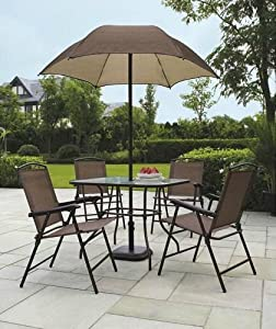 Sand dune 6 piece patio dining set with for Sombrillas jardin amazon
