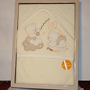 PRIMERAEDAD/ Capa de baño rizo color beige/amarillo, algodón (100 x 100 cm) - BebeHogar.com