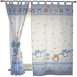 2er Set Gardinen Kinderzimmer Vorhänge mit Schlaufen und Schleifen 155x95 cm Dekoschal Schlaufenschal , Farbe: Eulen Blau, Größe: ca. 155x95 cm