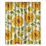 "Fashionable Design Sunflower Waterproof Polyester Fabric Shower Curtain 60"" x 72"""