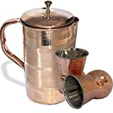 AsiaCraft Elegant Pure Copper Jug With Lid With Set Of 2 Mughlai Glasses
