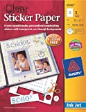 Avery Sticker Paper,  8.5 x 11 Inches, Clear, Pack of 3 (53203)