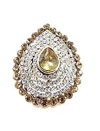 Aria Party Wear Shampion Kundan CZ Gold Plated Adjustable Finger Ring Fr253
