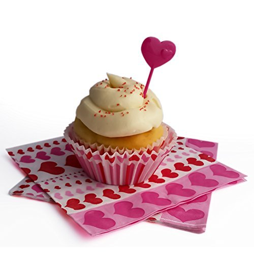 Valentines Day 2016 Napkins with Matching Cupcake Kit Hearts Theme Bundle: 18 Baking Cups, 18 Picks, 24 Napkins (Pink)