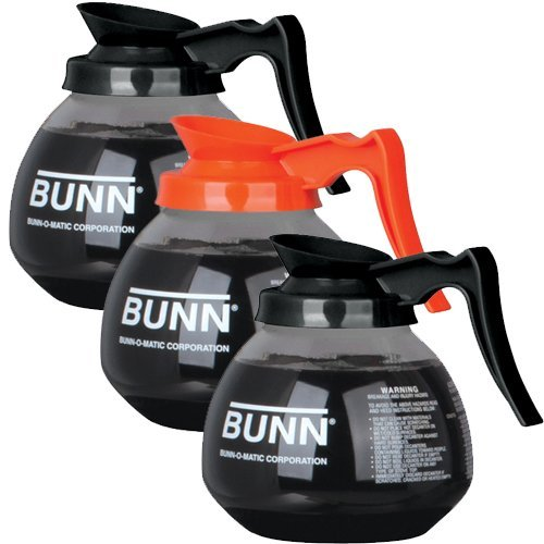 BUNN Regular and Decafe Glass Coffee Pot Decanter / Carafe, 12 Cup, 2 Black and 1 Orange, Set of 3 (Restaurant Coffee Pot compare prices)