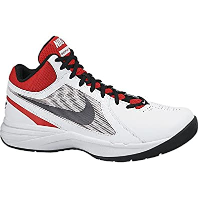 Nike Men's The Overplay VIII White/University Red/Black/Metallic Dark Grey 12.5 D - Medium