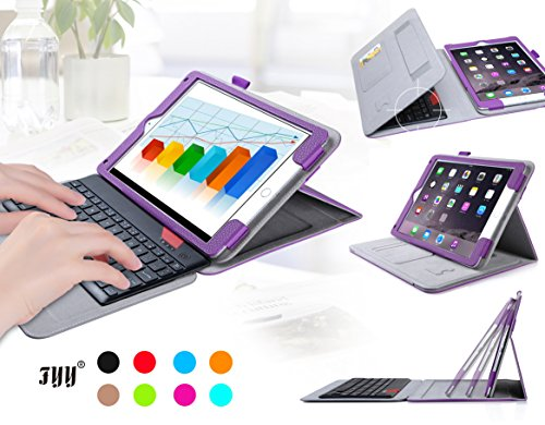 iPad Air/iPad Air 2ケース,FYY ® 内包軽量型 脱着式Bluetoothワイヤレスキーボード付きiPad Air/iPad Air 2 (iPad 第5/6世代)用ケース  マグネット開閉式 スタンド機能付き 高級PU レザーケース ペンホルダ/オートスリープ機能付き カードスロット付き ·  リストバンド付 全6色パープル