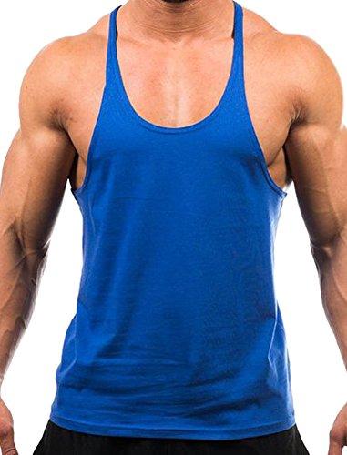 Handu Men's Blank Stringer Y Back Cotton Workout Gym Tank Tops XX-Large Sapphire