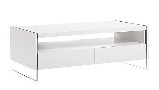 Design Couchtisch Hochglanz weiß Wohnzimmer Ablage Glas Tisch Beistelltisch