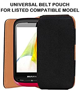 Exclusive Belt Case Mobile Leather Carry Pouch Holder Cover With Belt Clip For Maxx MSD7 MX131 Price-BLACK
