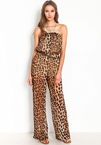 Dear-Lover Women'S Strapless Tube Leopard Print Wide Leg Jumpsuit One Size front-645806