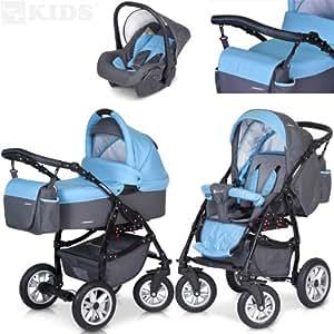 PREMIUM 3 en 1 Carrito PASSO convertible con capazo, saco para las piernas, bolsa para pañales, capota y silla de coche (grupo 0+) / 6 diseños de color disponibles, Color:F3 - azul