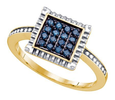 Sterling silver 0.26 Carat (ctw) Diamond Cluster Ladies Blue Diamond Ring