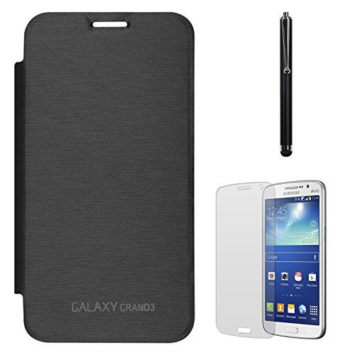 DMG Smooth PU Leather Back Replace Flip Cover Case For Samsung Galaxy Grand Max SM-G7200 (Black) + Matte Screen + Stylus